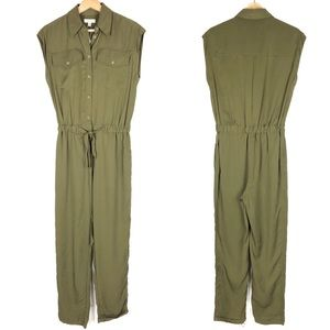 New MAX STUDIO jumpsuit olive green button up